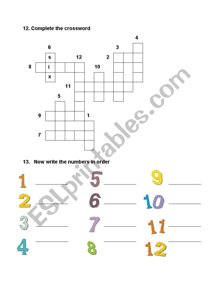 Numbers 1-12 - ESL worksheet by lasbrujas
