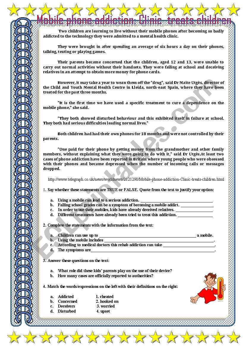 ADDICTIONS : MOBILE ADDICTION worksheet