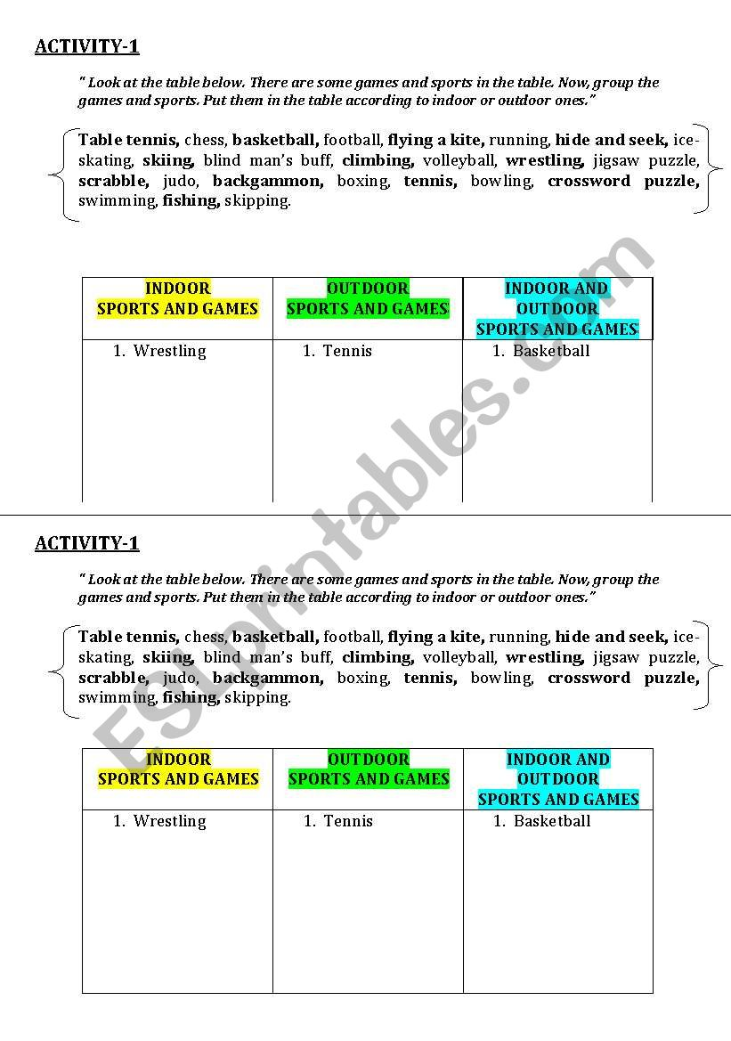english worksheets indoor and outdoor games and sports. Black Bedroom Furniture Sets. Home Design Ideas