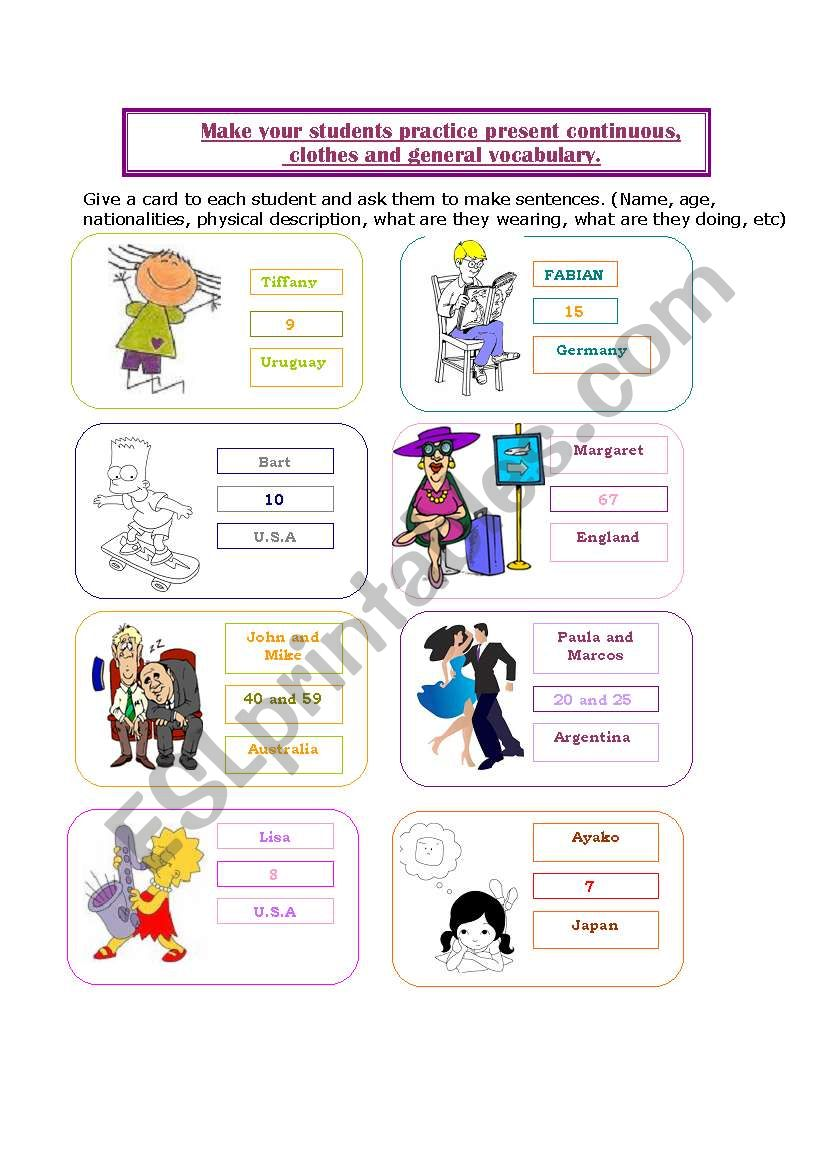 cards for practicing, nationalities, age, describing people, present continuous, etc