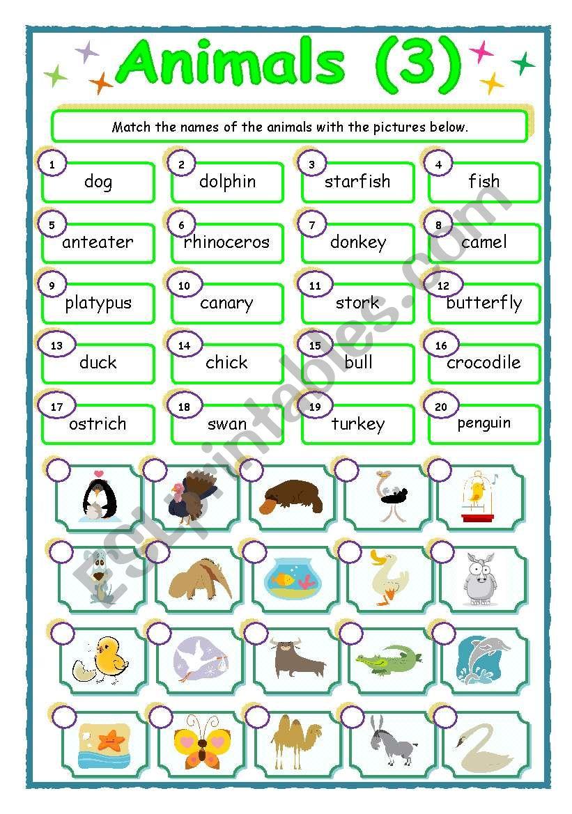 Animals - matching (3/3) worksheet