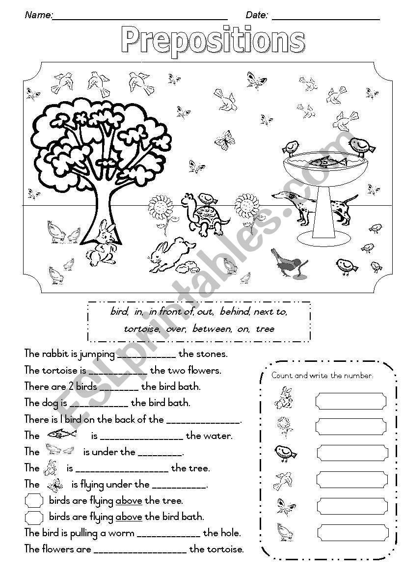 Prepositions - In the Garden worksheet