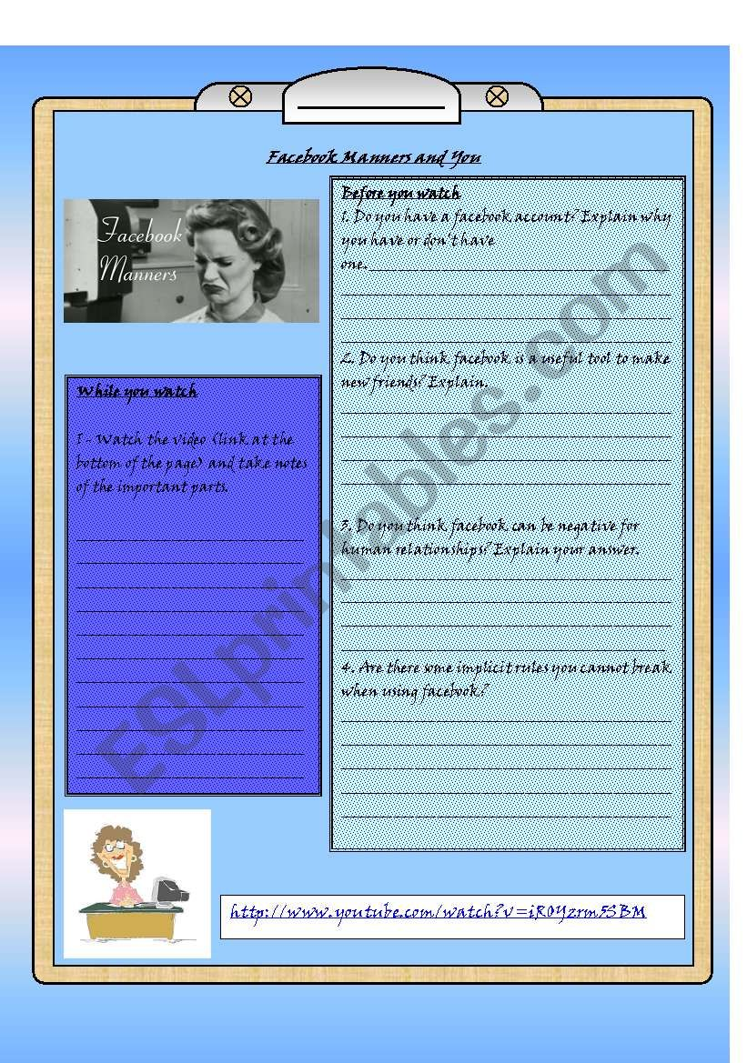 Facebook Manners worksheet