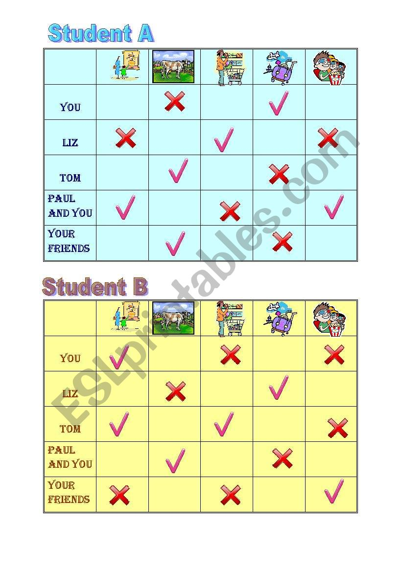 Yes/No questions and short answers pairwork sheet 1