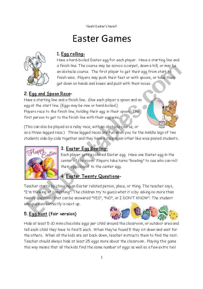 ESL Games for Easter - ESL worksheet by steveo7502