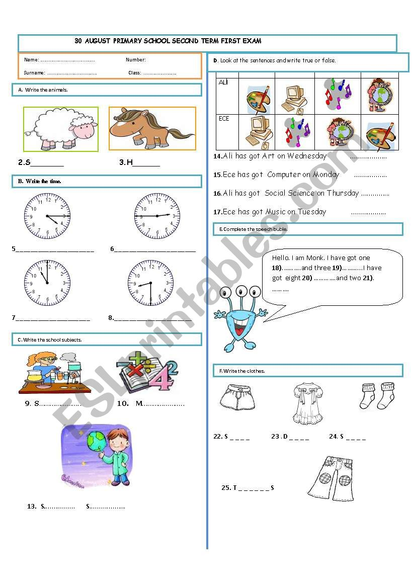 Exam for the 4th graders (1) worksheet