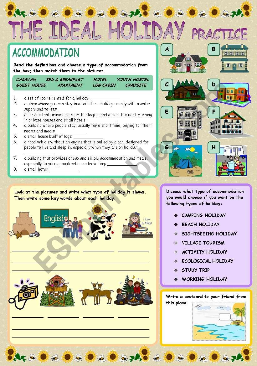 THE IDEAL HOLIDAY practice worksheet