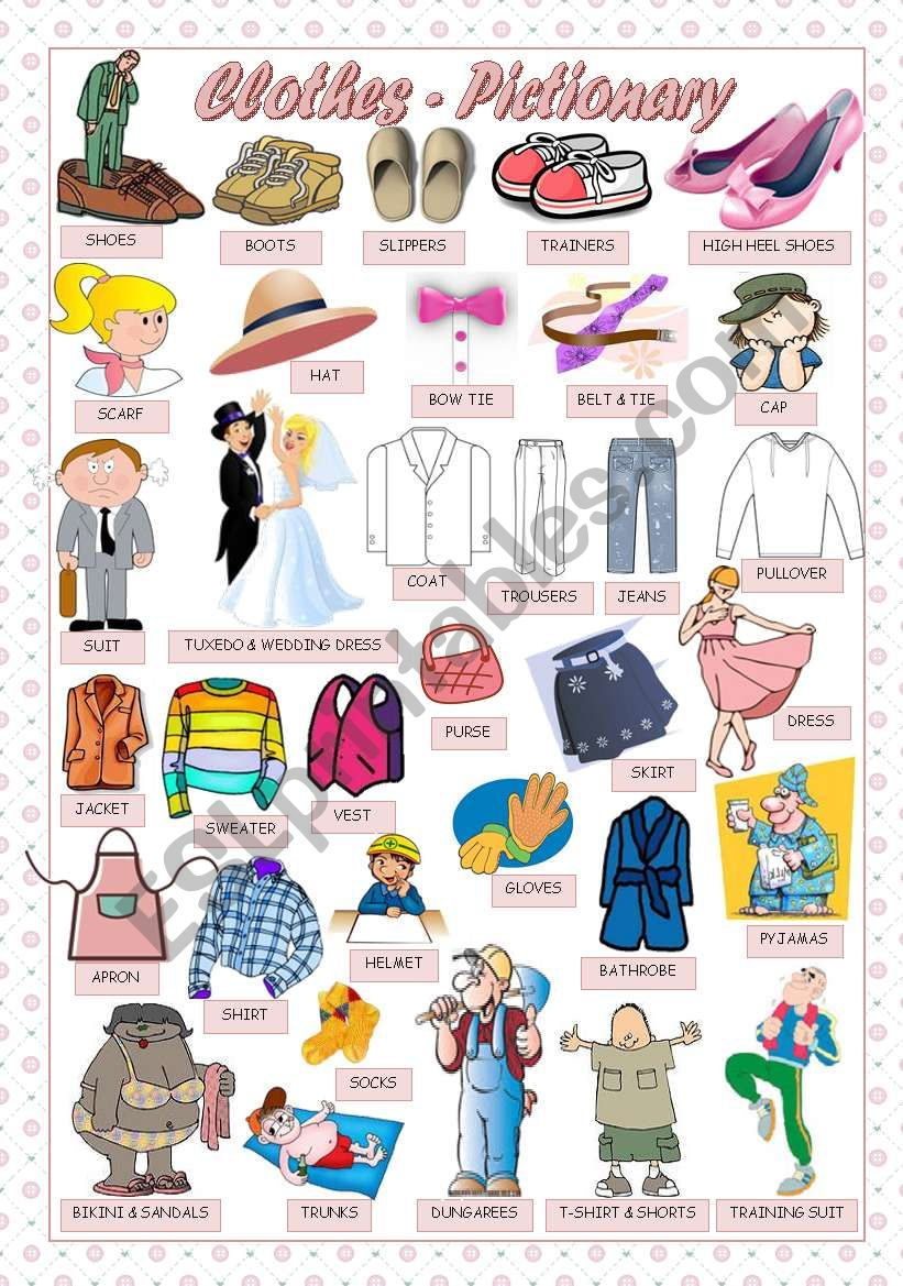 CLOTHES - PICTIONARY worksheet