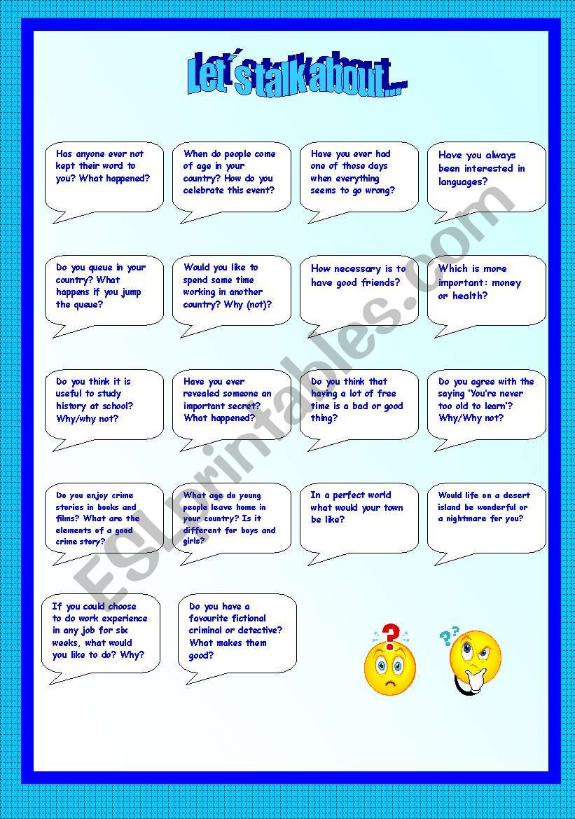 Let´s talk about-2 pages worksheet