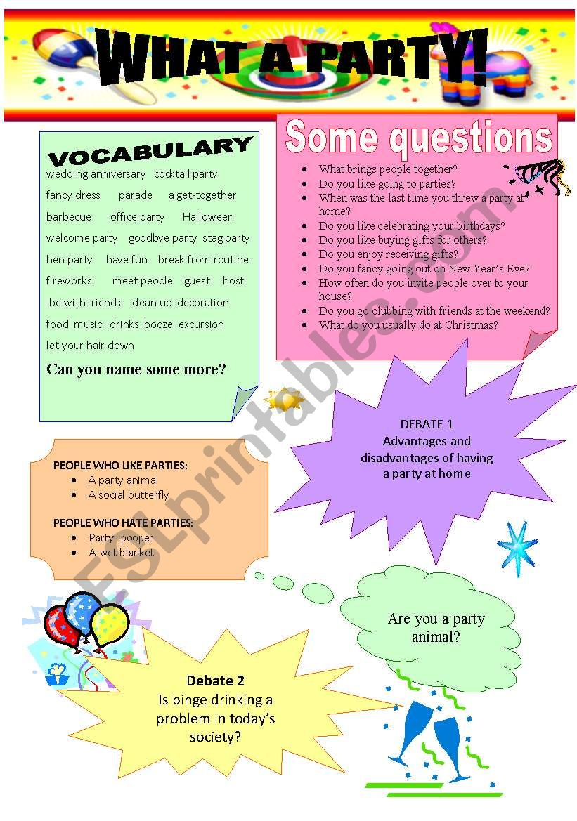 What a party! worksheet