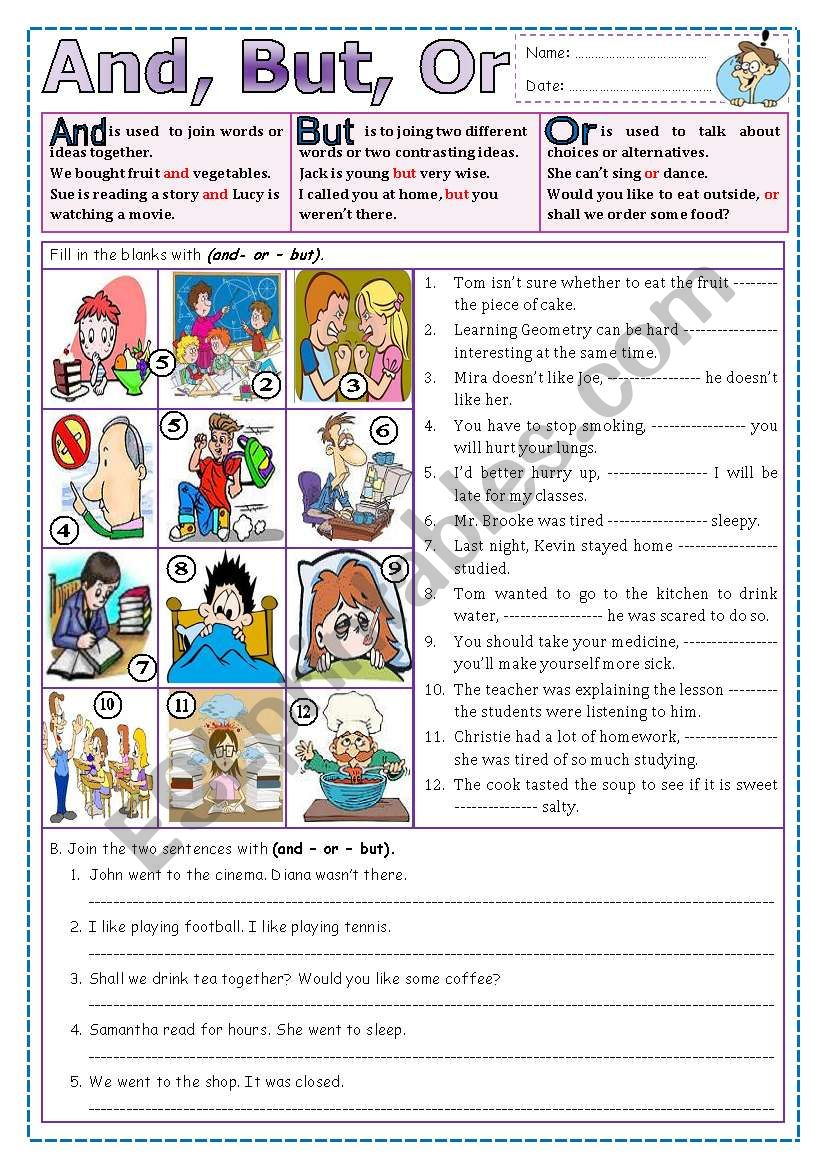 And, But, Or? worksheet