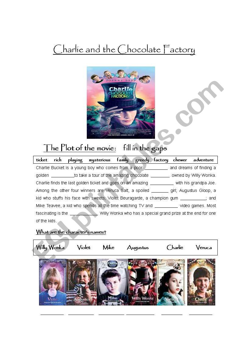 Charlie and the Chocolate Factory movie worksheet