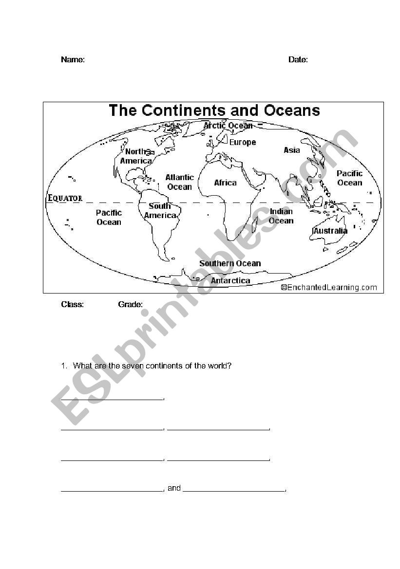 Continents And Oceans Esl Worksheet By Bbrenton