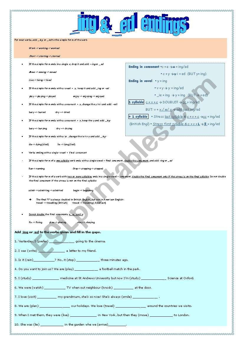 Adding _ing or _ed worksheet