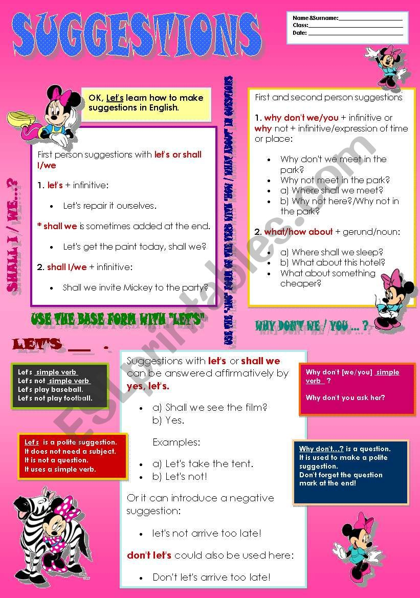 Suggestion with Minnie ( test +answer key ) 2 pages