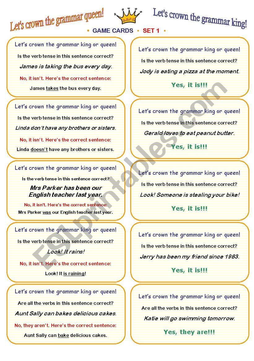 LET´S CROWN THE GRAMMAR QUEEN OR KING! • FUN CLASSROOM CHALLENGE • CARD GAME • fully editable speaking and listening activity • 30 cards (SET 1) • clear ´how-to-play´ instructions included :))))