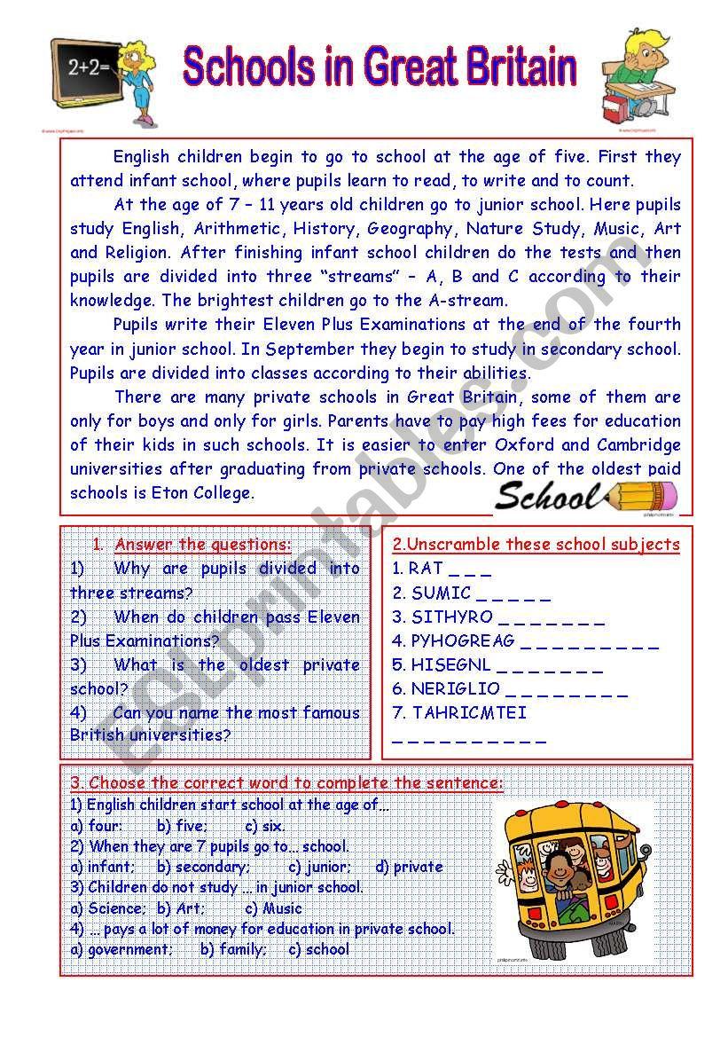 SCHOOLS IN GREAT BRITAIN worksheet