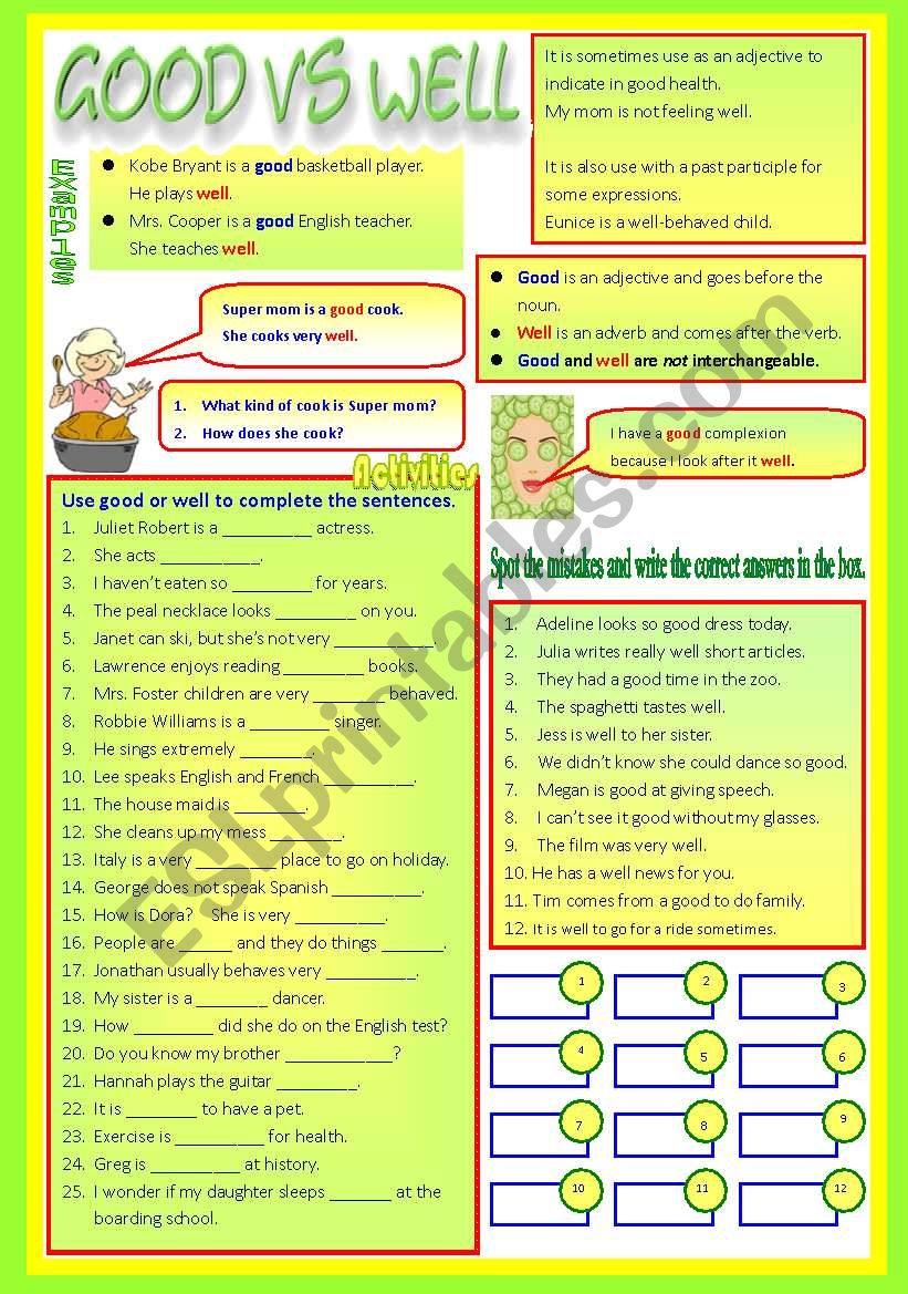 worksheet Well Vs Good Worksheet english worksheets good vs well adjective adverb bw keys keys