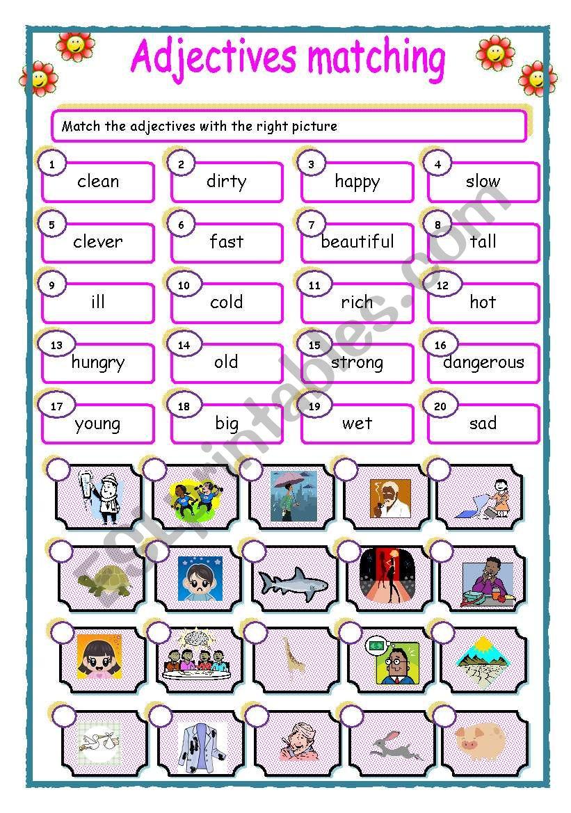 Adjectives-matching worksheet
