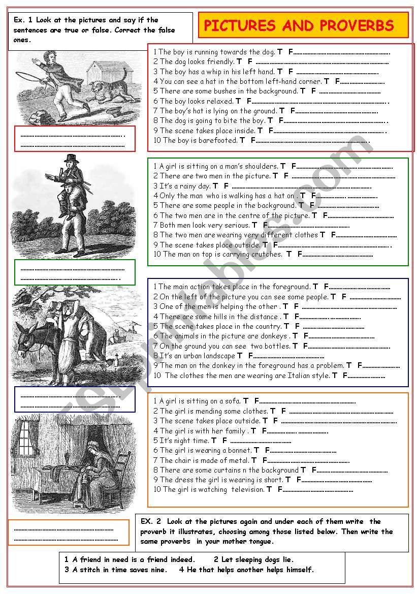 Pictures and proverbs worksheet