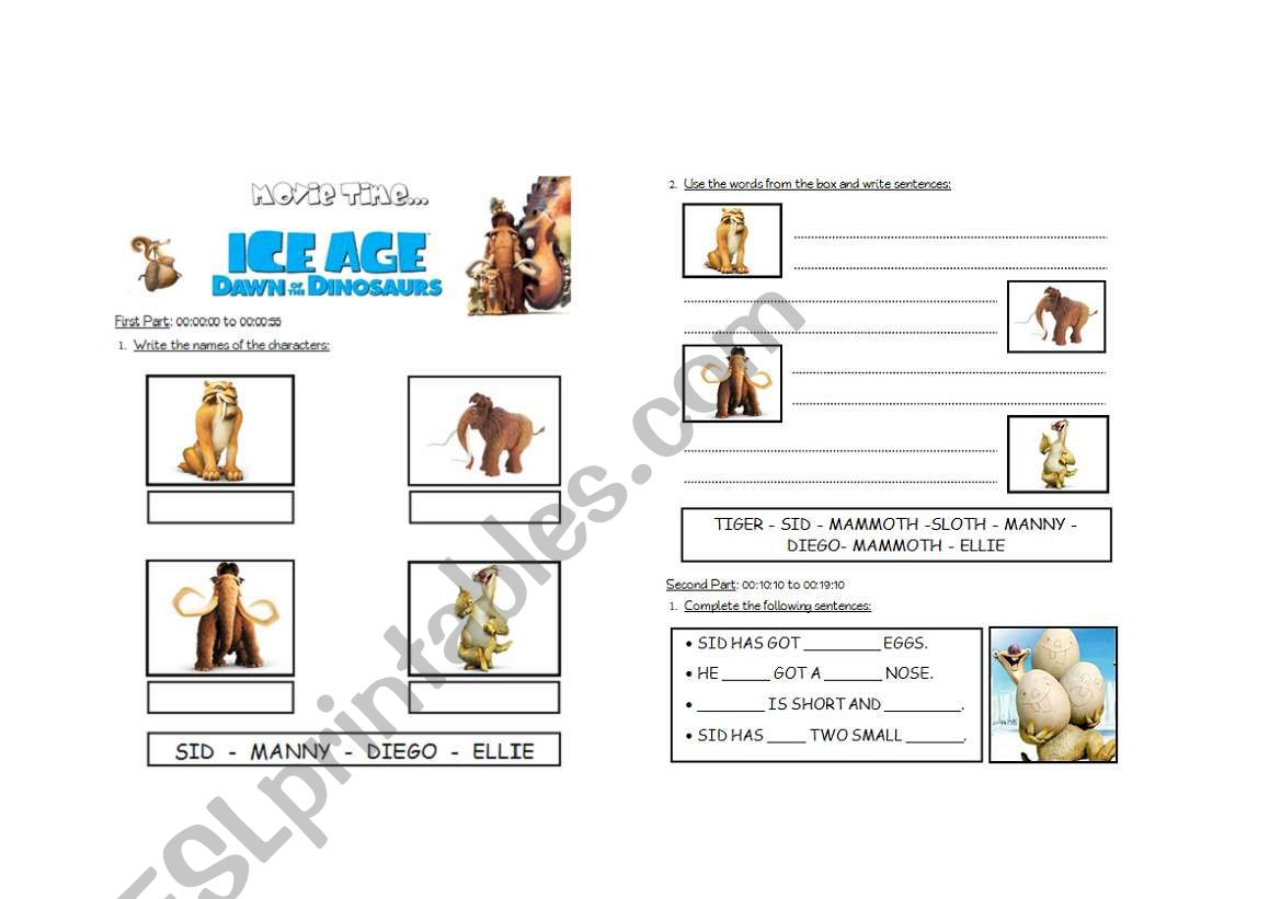 THE ICE AGE 3 - PART 1 - ESL worksheet by lolamora3