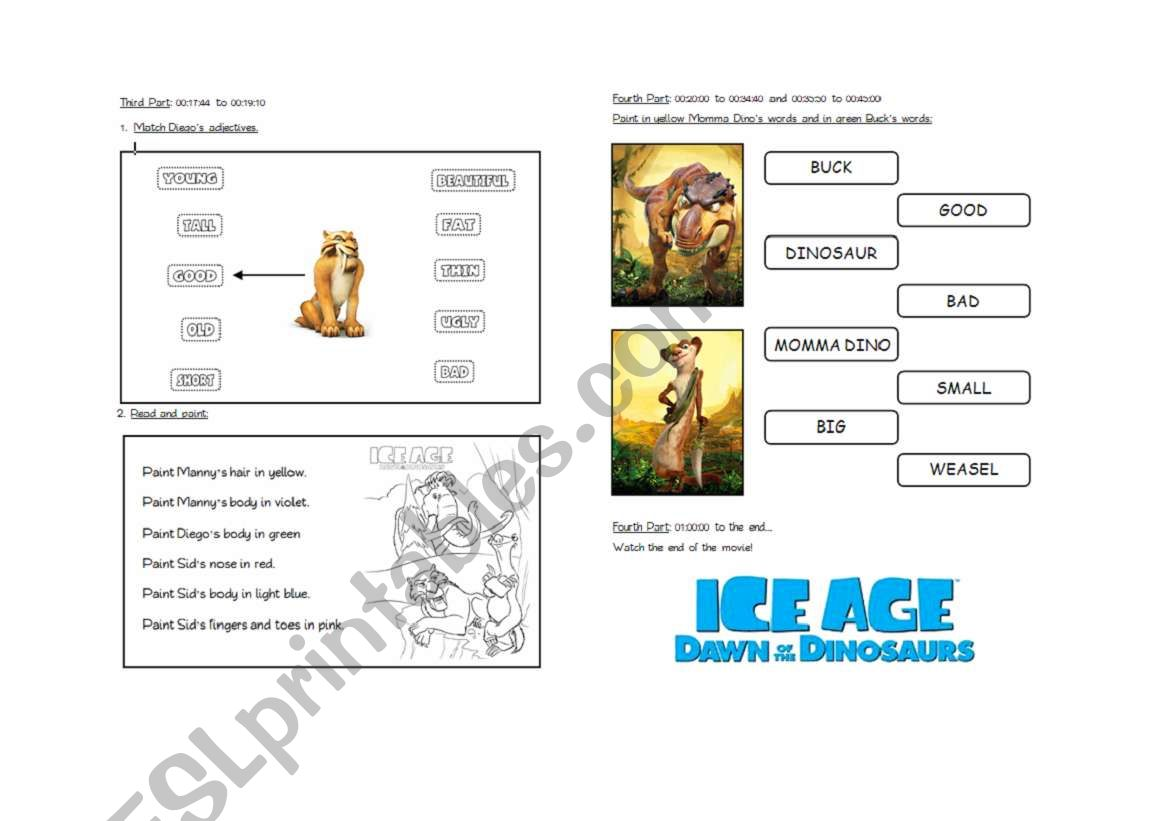 THE ICE AGE 3 - PART 2 - ESL worksheet by lolamora3