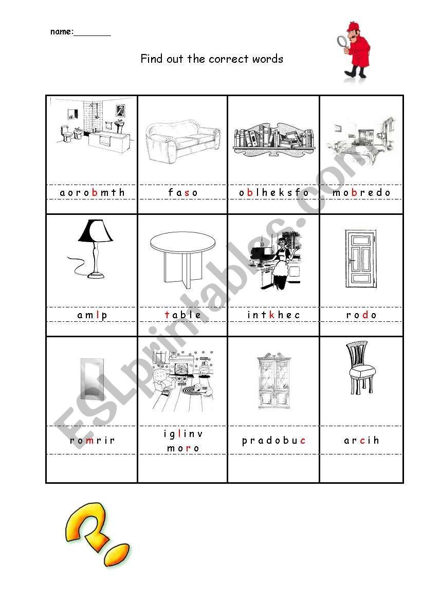 Rooms Worksheet: ESL Worksheet By Klane