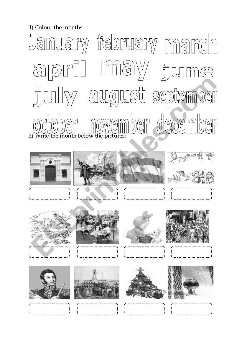 months and celebration dates worksheet