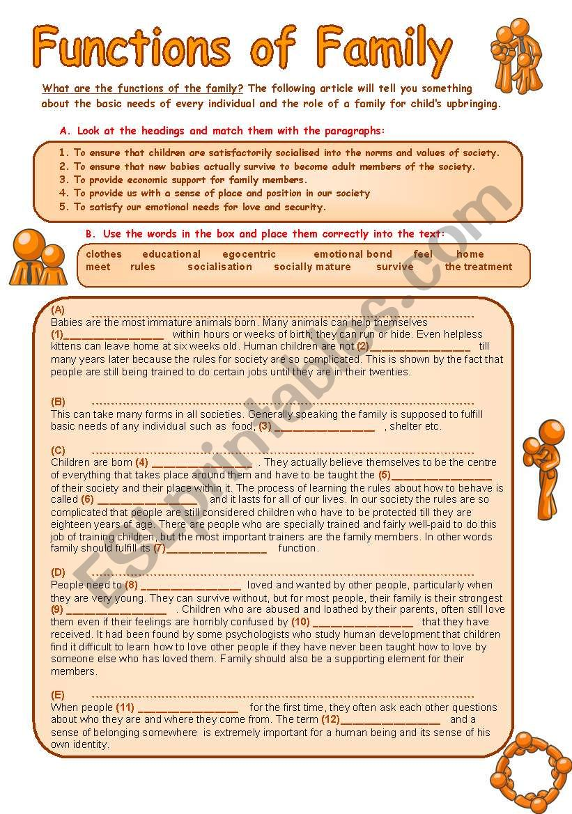 Family And Its Functions Reading Comprehension