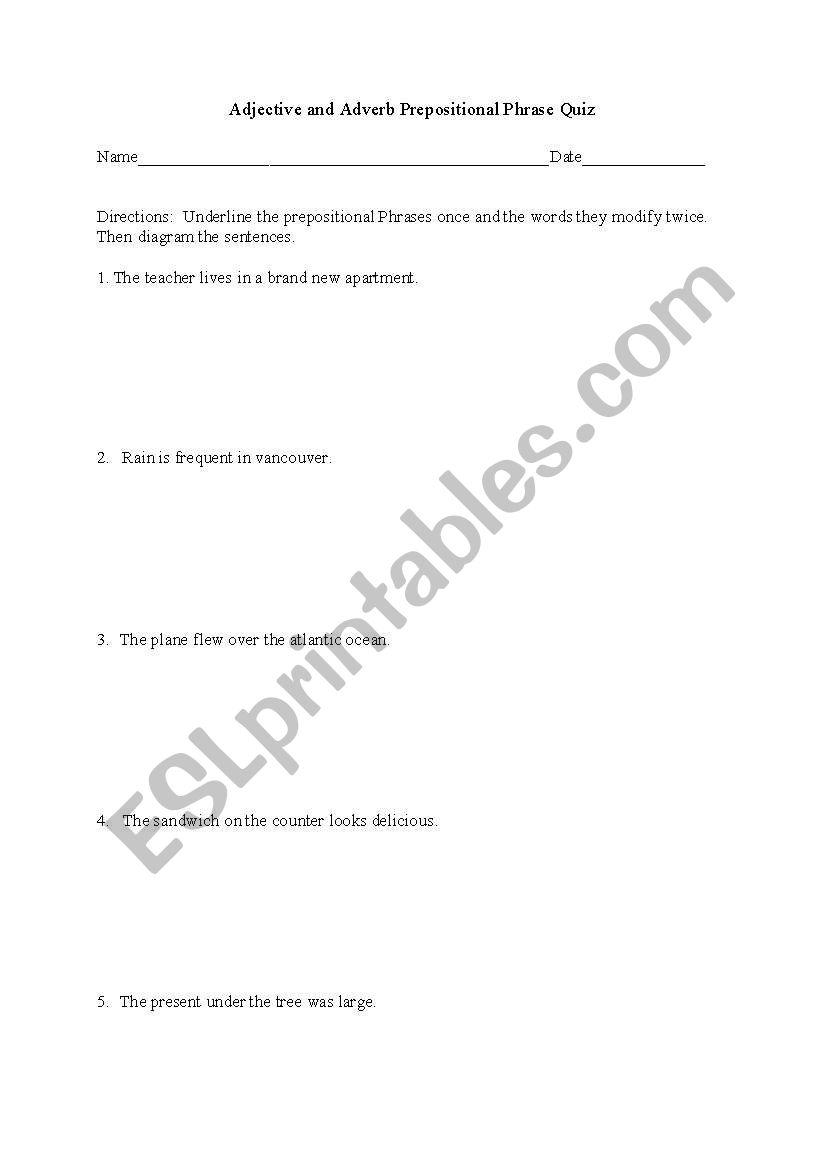 English Worksheets  Diagramming Adjective And Adverb