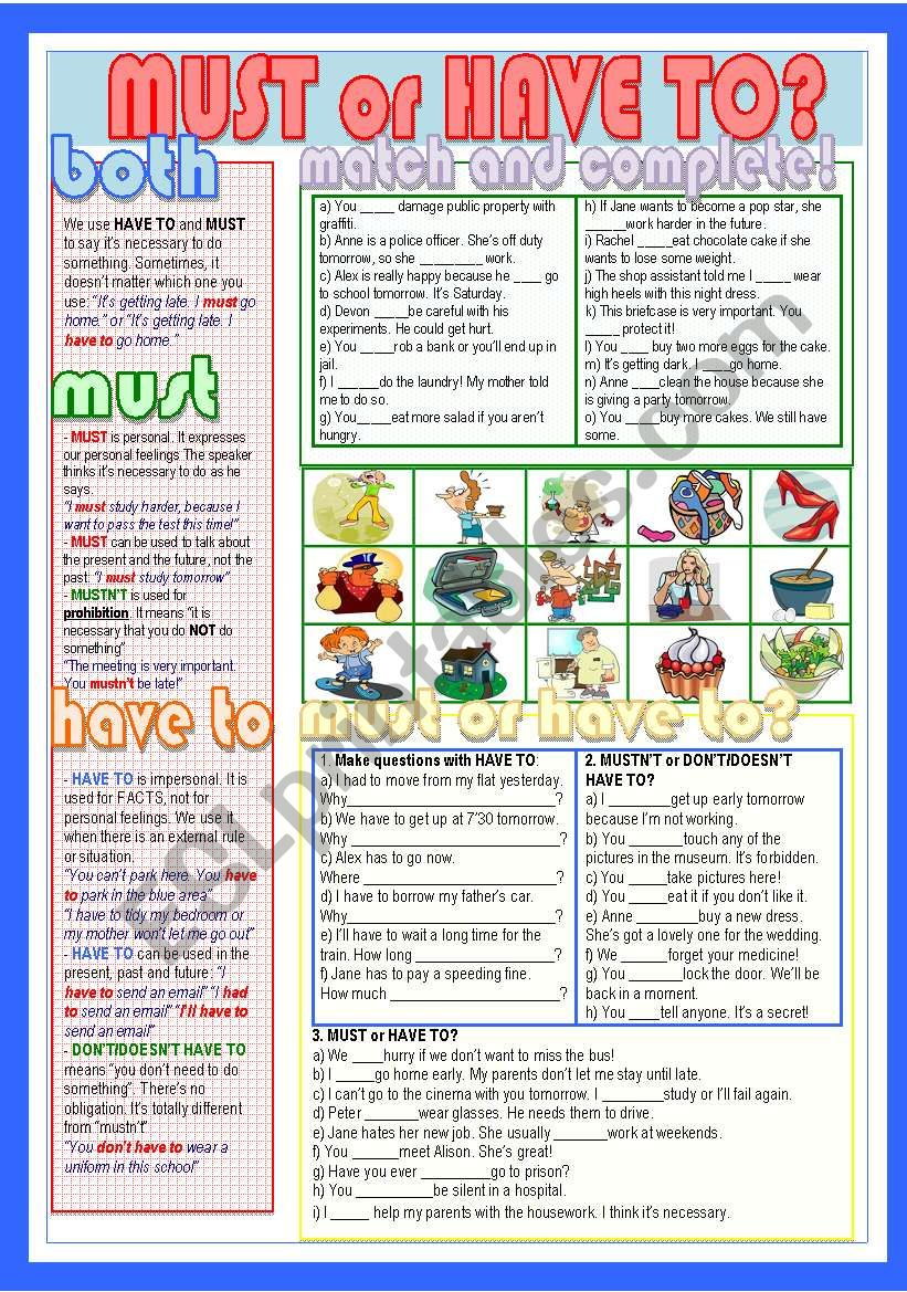 Must or Have to? worksheet