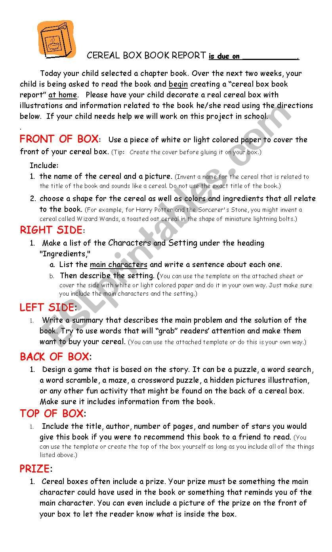 Cereal Box Book Report & Rubric