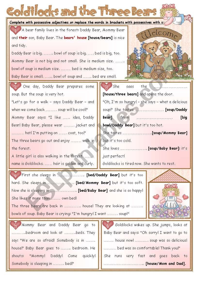 It is a picture of Goldilocks and the Three Bears Story Printable regarding drawing