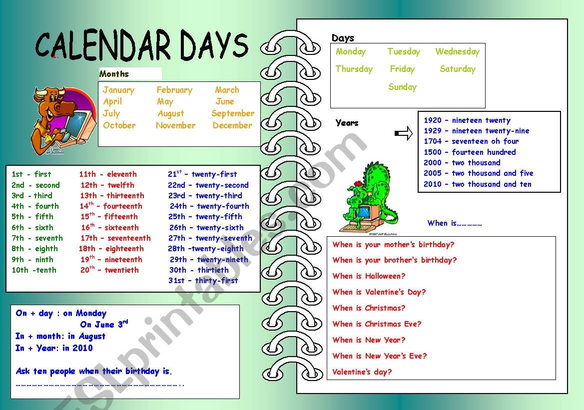 Dates and Calendar Days worksheet