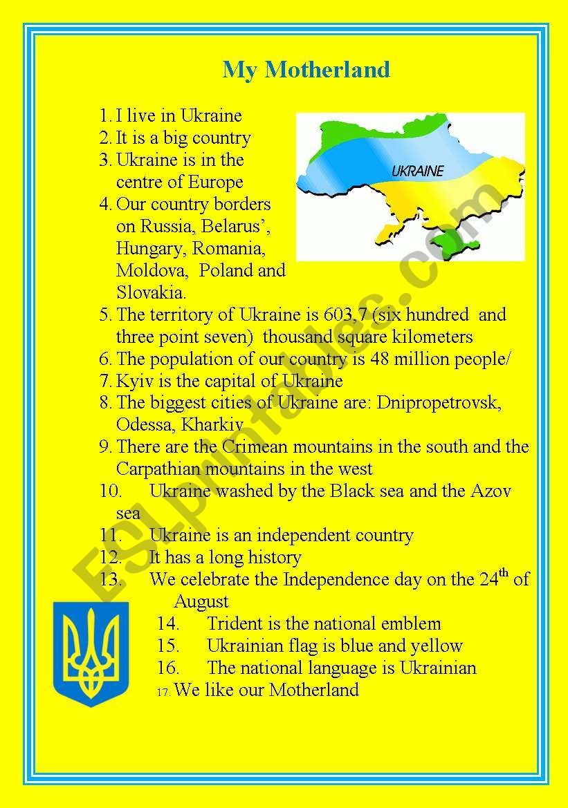 Simple story about Ukraine worksheet