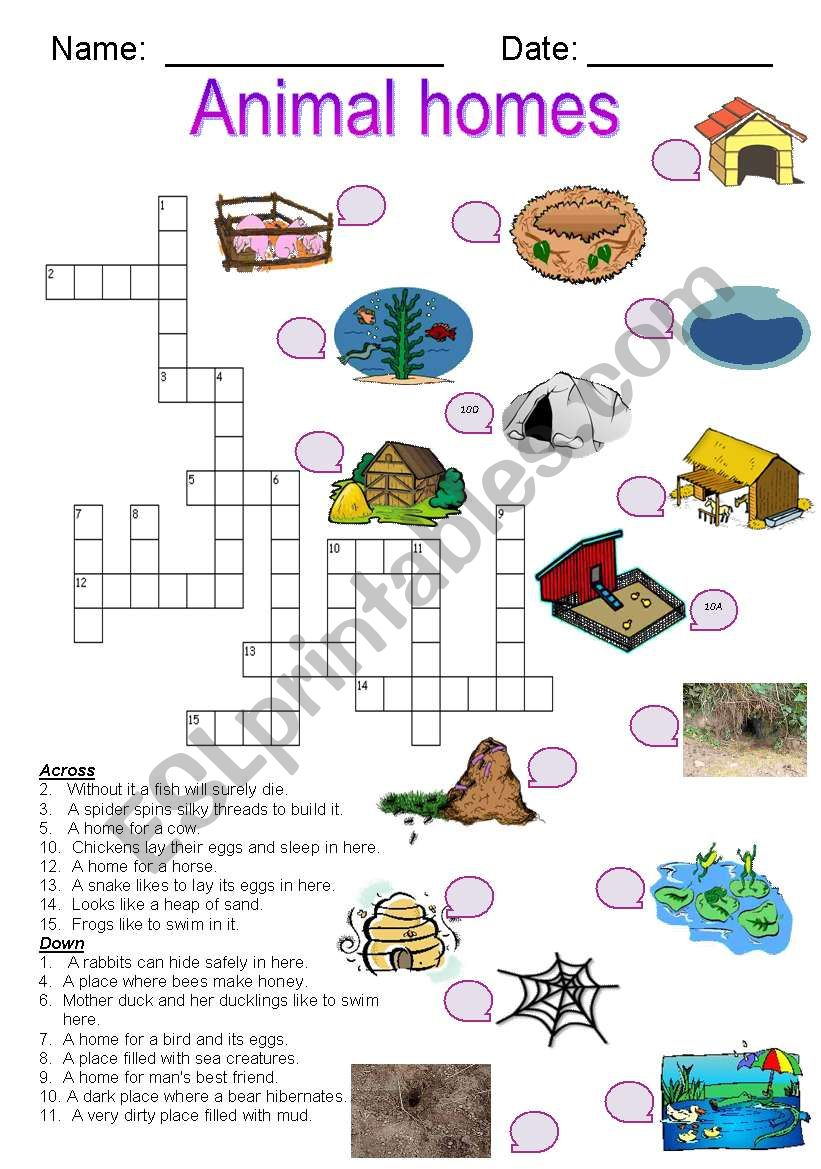 animal homes crossword esl worksheet by joeyb1. Black Bedroom Furniture Sets. Home Design Ideas