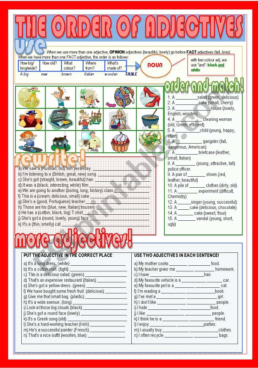 The order of adjectives worksheet