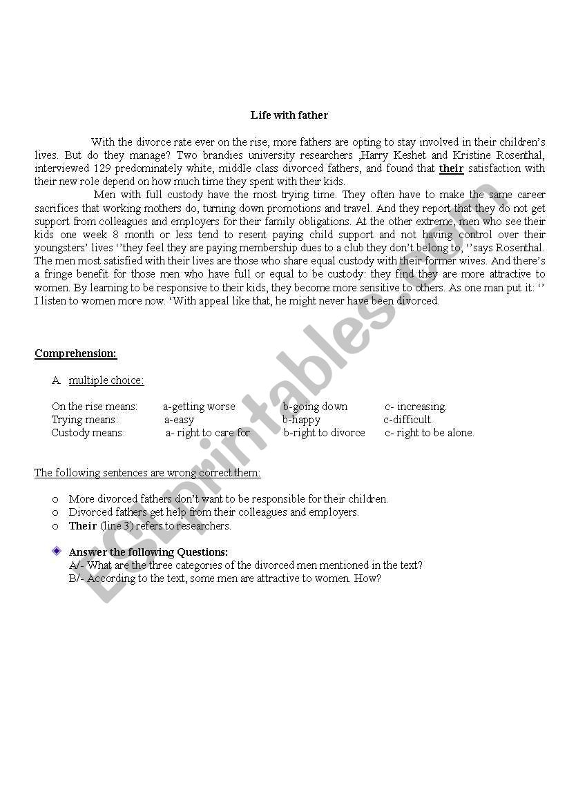 Life with Father worksheet