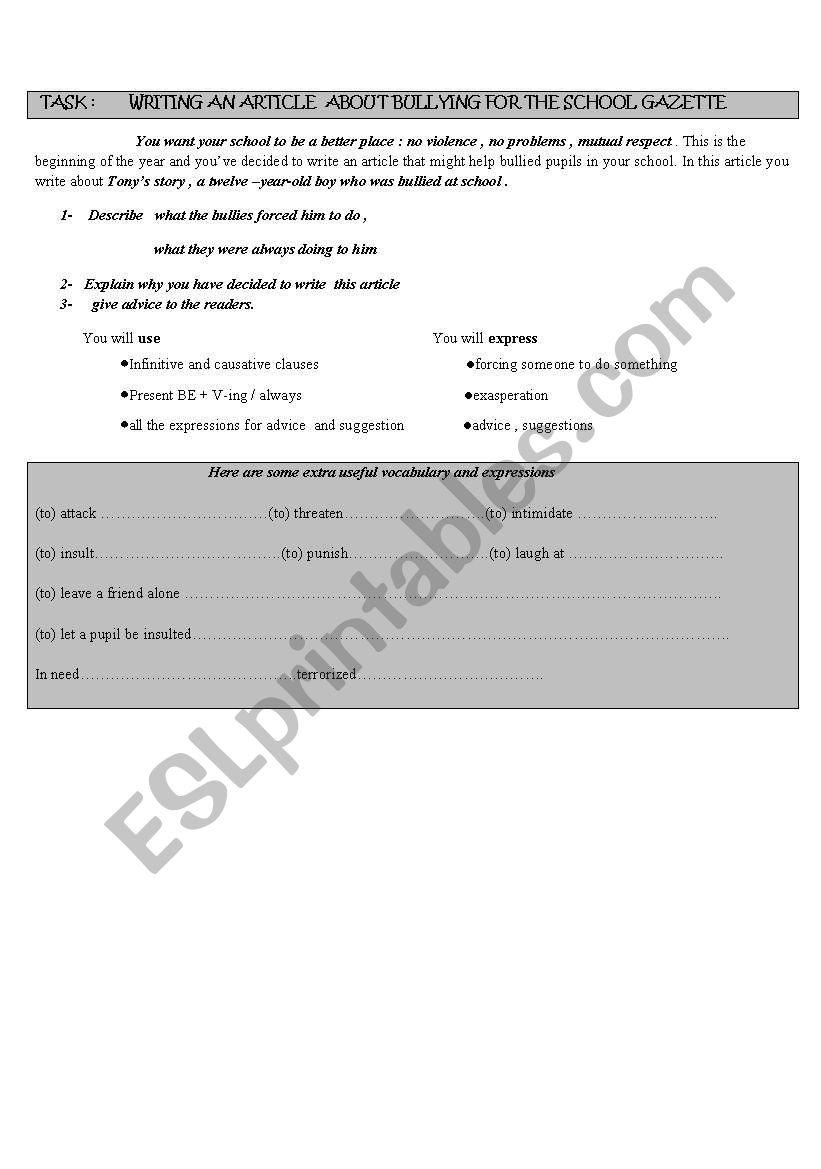 bullying- part 1 worksheet