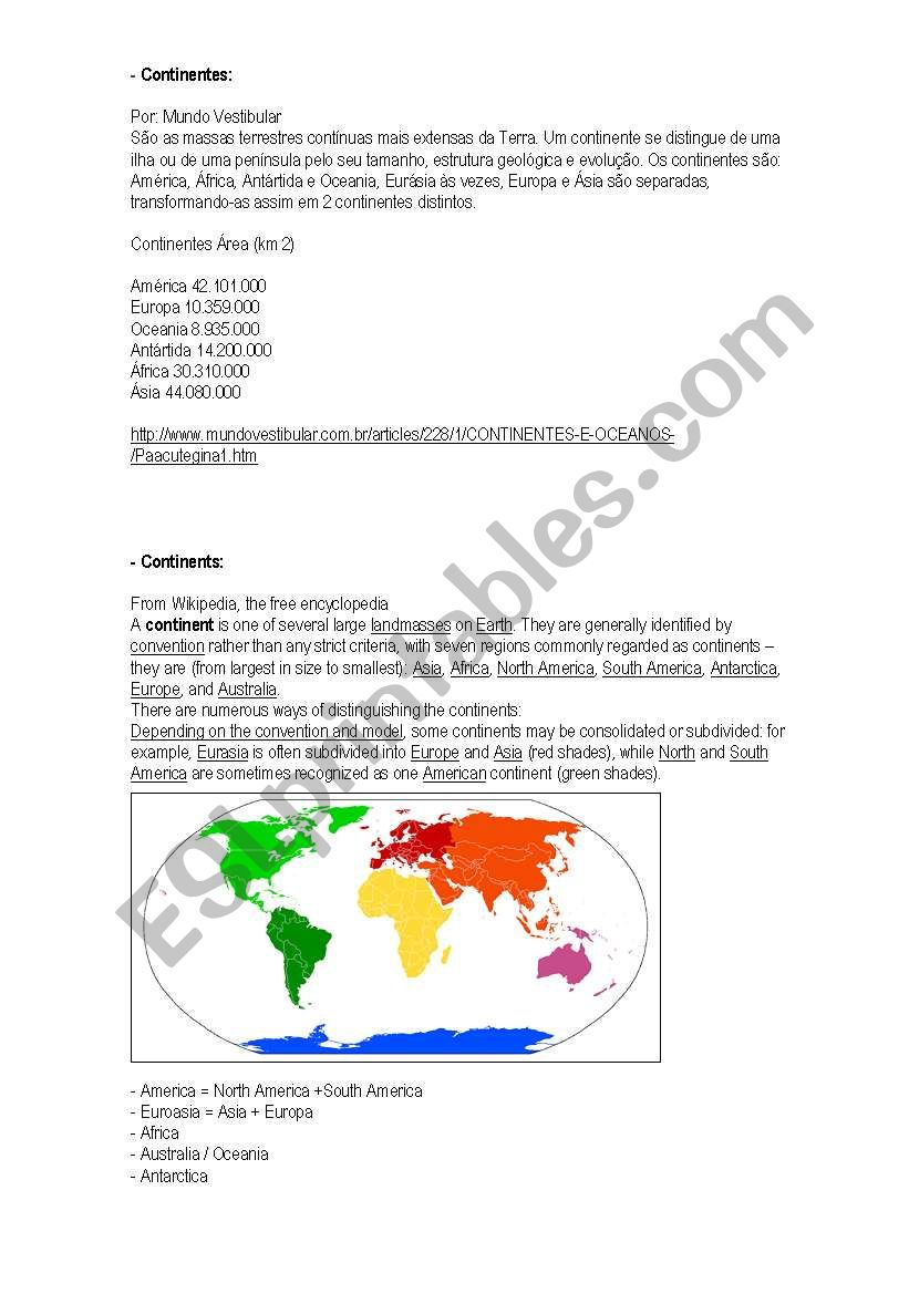 English Worksheets Continents