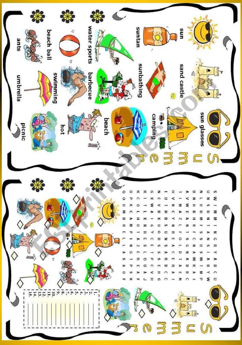 56cf503baf8 Summer - ESL worksheet by vanda51