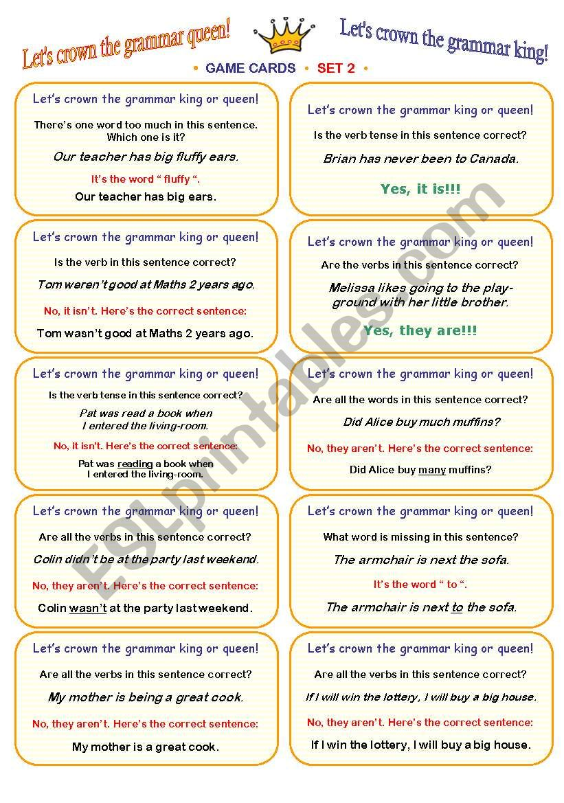 LET´S CROWN THE GRAMMAR QUEEN OR KING! • FUN CLASSROOM CHALLENGE • CARD GAME • fully editable speaking and listening activity • 30 cards (SET 2) • clear ´how-to-play´ instructions included :))))