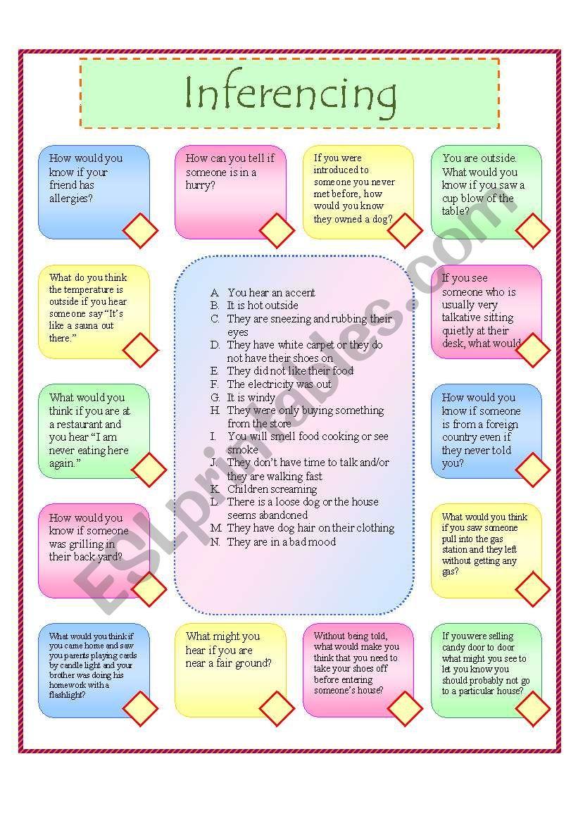 Inferencing 2 worksheet