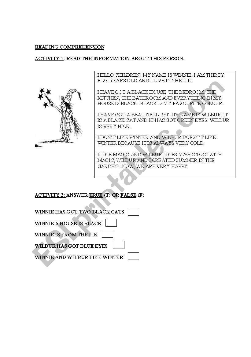 Read about Winnie worksheet