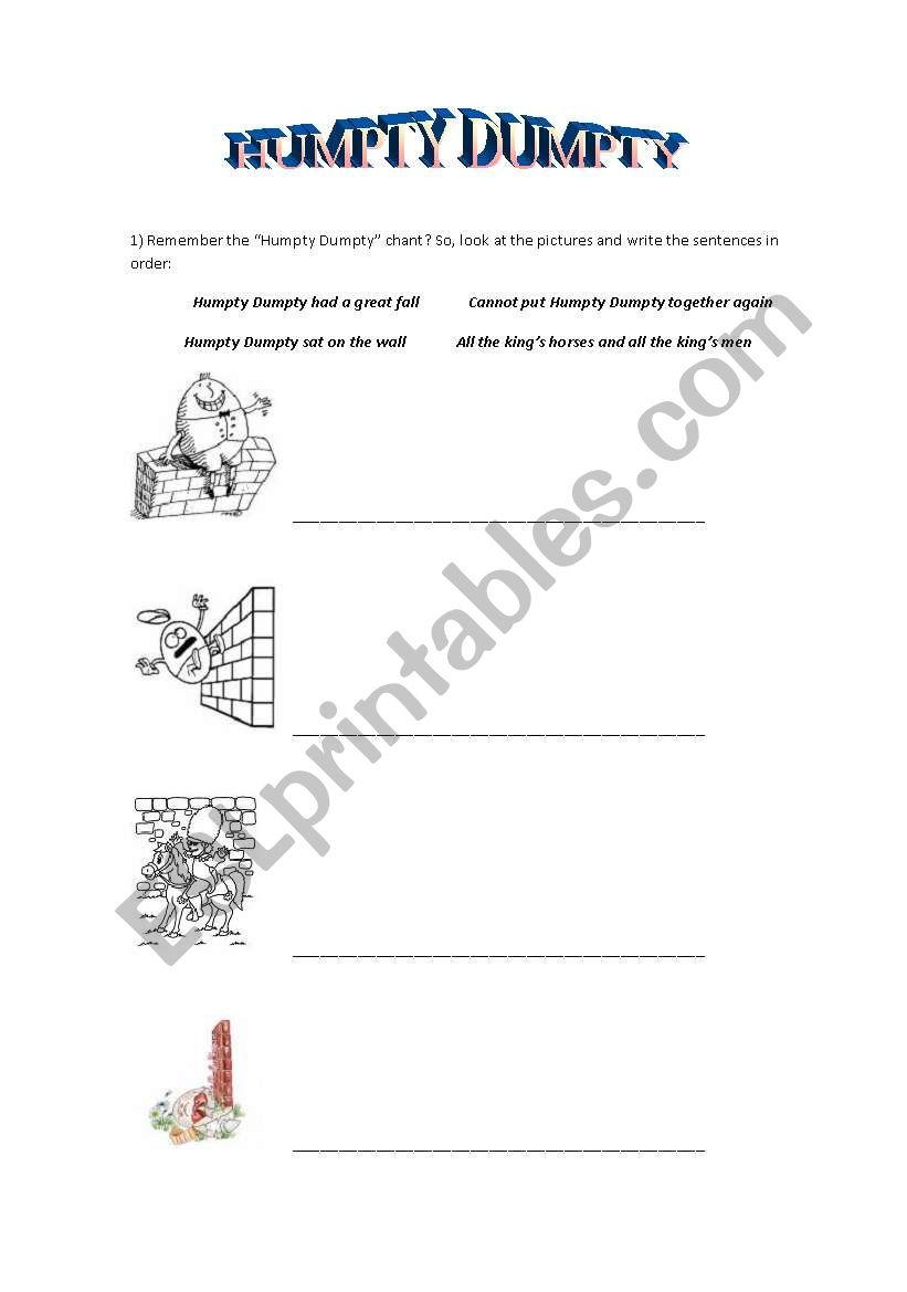 Humpty Dumpty worksheet