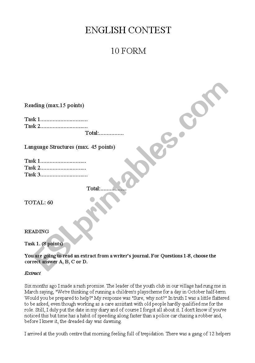 10th form English contest worksheet