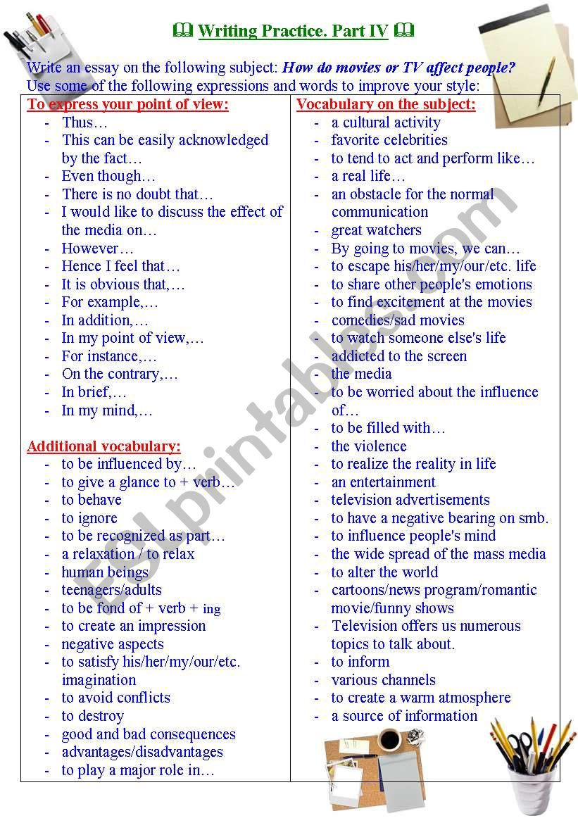 Writing Practice for TOEFL / IELTS exams. Useful expressions and vocabulary. Part IV.