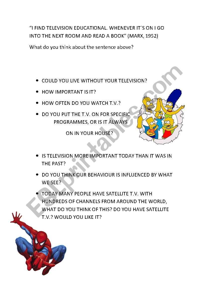 Television page 3 worksheet