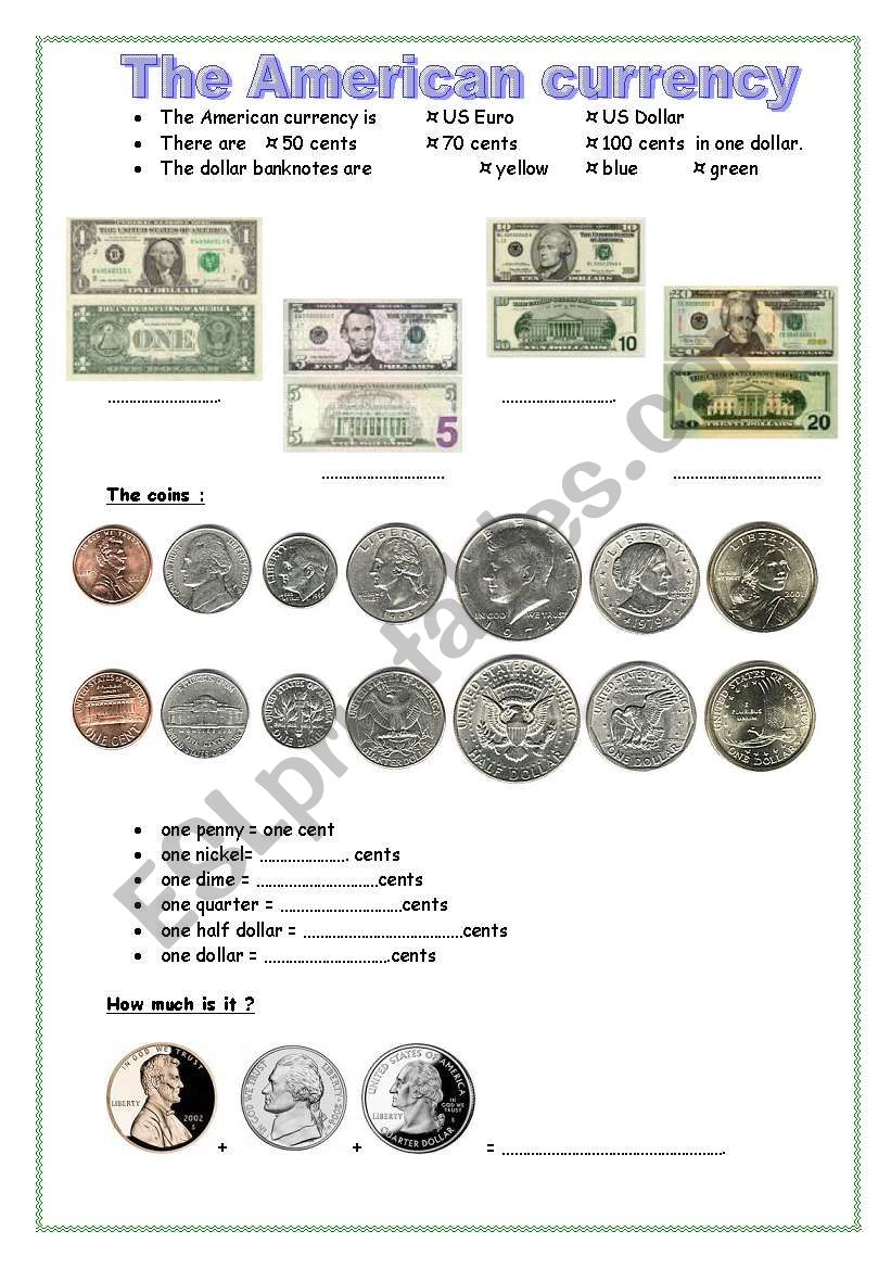 the american currency worksheet