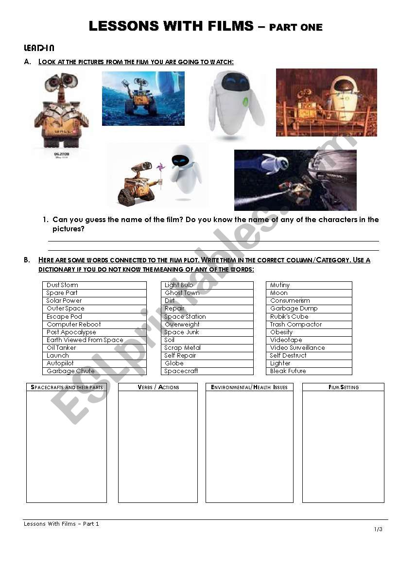 Lessons with Films - ´Wall-E´ - Part one of two